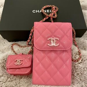 Chanel phone and AirPod bag